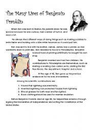 English Worksheets: The Many Lives of Benjamin Franklin