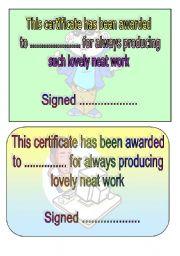 neat work award
