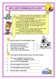 English Worksheet: Simple Past Tense Reading