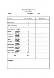 English Worksheet: Parts of Speech Notebook Project
