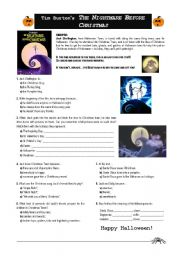 English Worksheet: Tim Burton�s The Nightmare Before Christmas