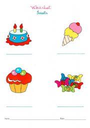 English Worksheet: sweets