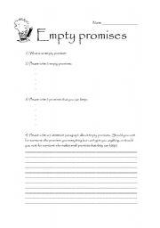 English Worksheets: Empty promises