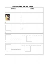 English Worksheet: Vobalarly  : Animal  and  Their food : Like  and  dislike