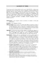 English Worksheets: Glossary of terms in ESL