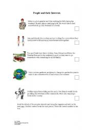 English Worksheets: Reading acticity for PET practise