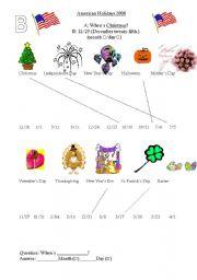 English Worksheets: Holiday Information gap
