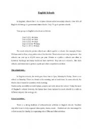 English Worksheet: Reading comprehension+questions about English Schools