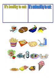 Healthy Unhealthy Food Esl Worksheet By Olik22