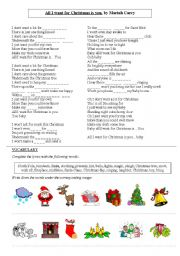 English Worksheets: All I want for Christmas is you, Mariah Carey