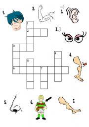 English Worksheet: body parts crossword puzzle
