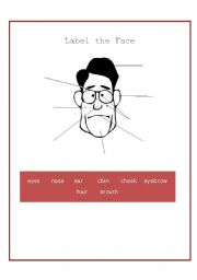 English Worksheets: Label The Face