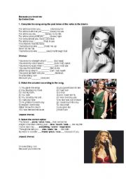 English Worksheet: celine dion becouse  you loved me