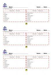 English Worksheets: Vocabulary test Blockbuster 2 Unit 9
