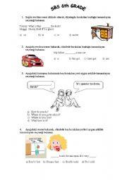 Test For 6th Grade Students Esl Worksheet By Onuresl