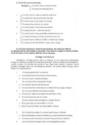 English Worksheet: A worksheet about must and have to