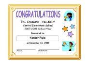 English Worksheets: ESL Graduation Certificate