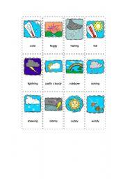 english worksheet flashcards weather