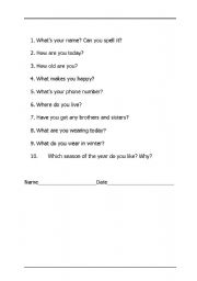 English Worksheets: Questions for testing basic english