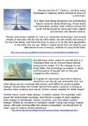 English worksheet: Clean energy vs Fossil fuels