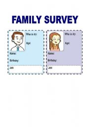 English Worksheet: FAMILY SURVEY
