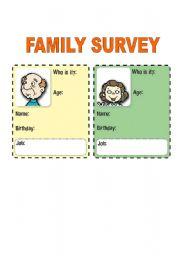 English Worksheets: FAMILY SURVEY