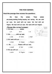 English Worksheets: the five senses-reading