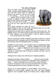 English Worksheets: Conjunctions and the african elephant