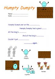 English Worksheet: Humpty Dumpty song