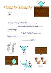 English Worksheet: Humpty Dumpty song