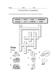 English Worksheets: A forest fire