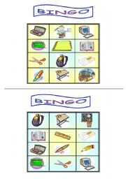 English Worksheets: Bingo - school - part one
