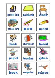 English Worksheet: bingo - school - reader�s card - part two