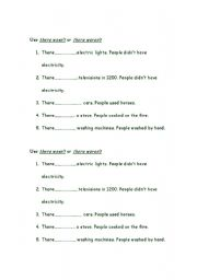 English Worksheets: Use there wasn�t and weren�t in the following sentences