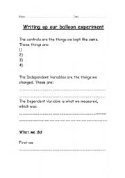 English Worksheets: Writing up our experiment writing frame  for year 5