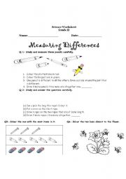 English Worksheets: measuring differences