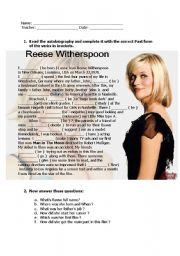 English Worksheets: Reese Witherspoon - Biography