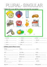 English Worksheet: plural -singular