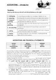 English Worksheet: Accounting