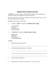 English Worksheets: Create Your Own Mascot Activity