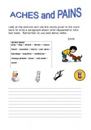 English Worksheets: Aches and pains (2)