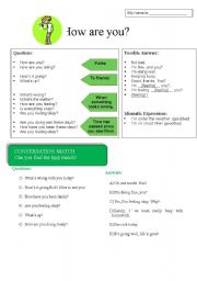 English Worksheets: How are you? Expressions