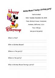 English Worksheet: Mickey Mouse Invitation