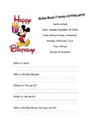 English Worksheet: Mickey Mouse Invitation