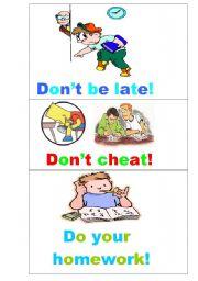 English Worksheet: Illustrated classroom rules