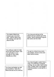 English Worksheets: role paly situations