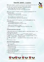 English Worksheet: Reported Speech - in questions