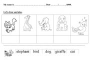 English Worksheets: Animal (bird, elephant, giraffe, dog and cat)