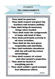 English Worksheets: students� ten commandments