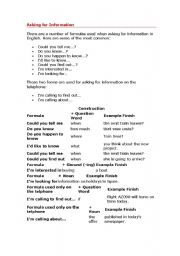 English Worksheets: asking for information